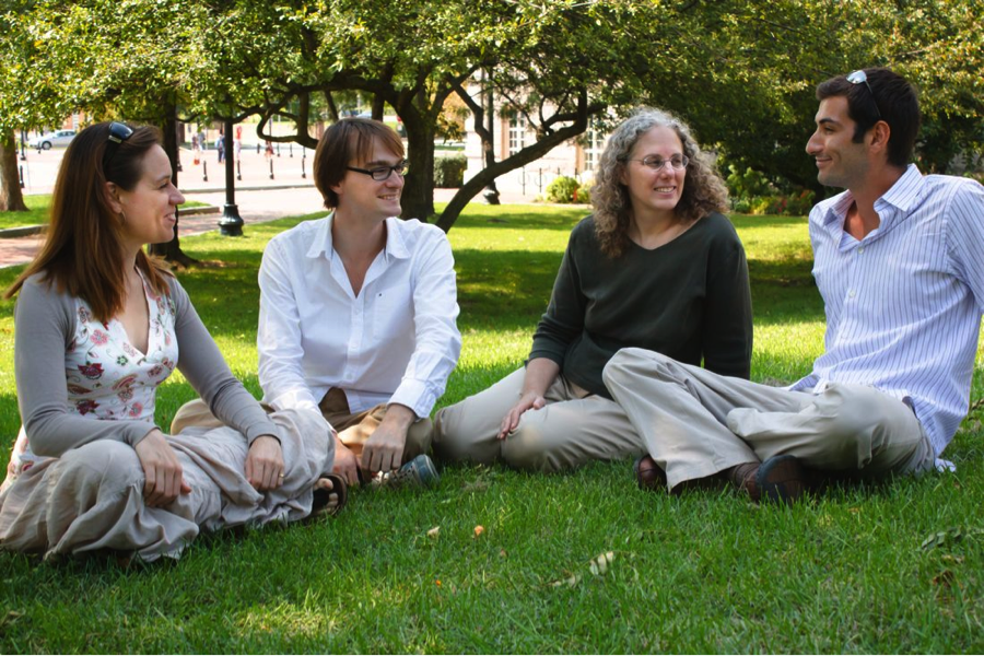 Dr. Sara Lazar (second from right) offers a brief weekly lunchtime meditation to her research team.